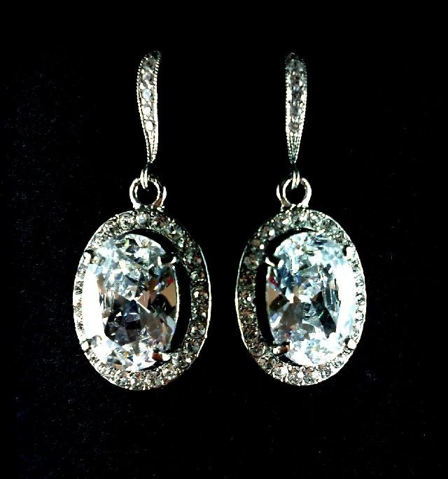 Timeless Classic Oval Bridal Crystal Earrings, Cubic Zirconia Silver Wedding Jewelry, OVAL. $49.00, via Etsy.