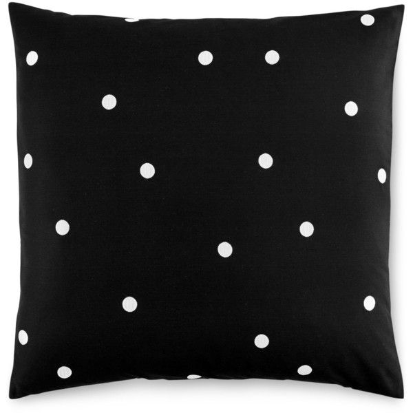 kate spade new york Deco Dot Black European Sham found on Polyvore featuring home, bed & bath, bedding, bed accessories, black, kate spade bedding, modern bedding, cotton bedding, black euro pillow shams and black polka dot bedding