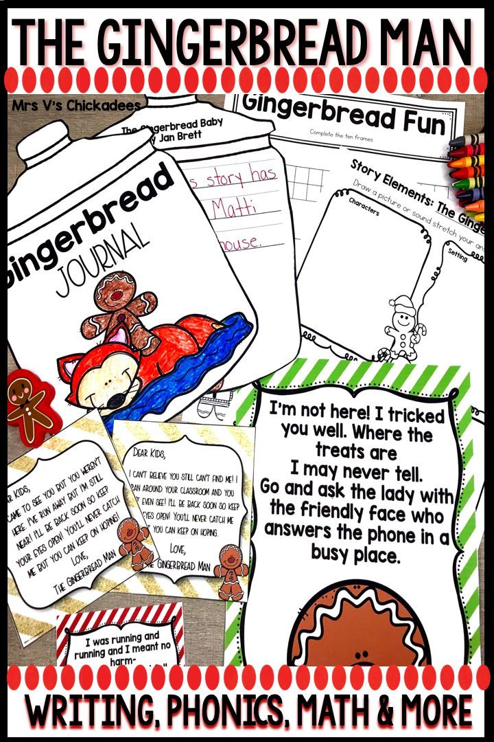 The Gingerbread Man Writing Phonics Math Crafts And More