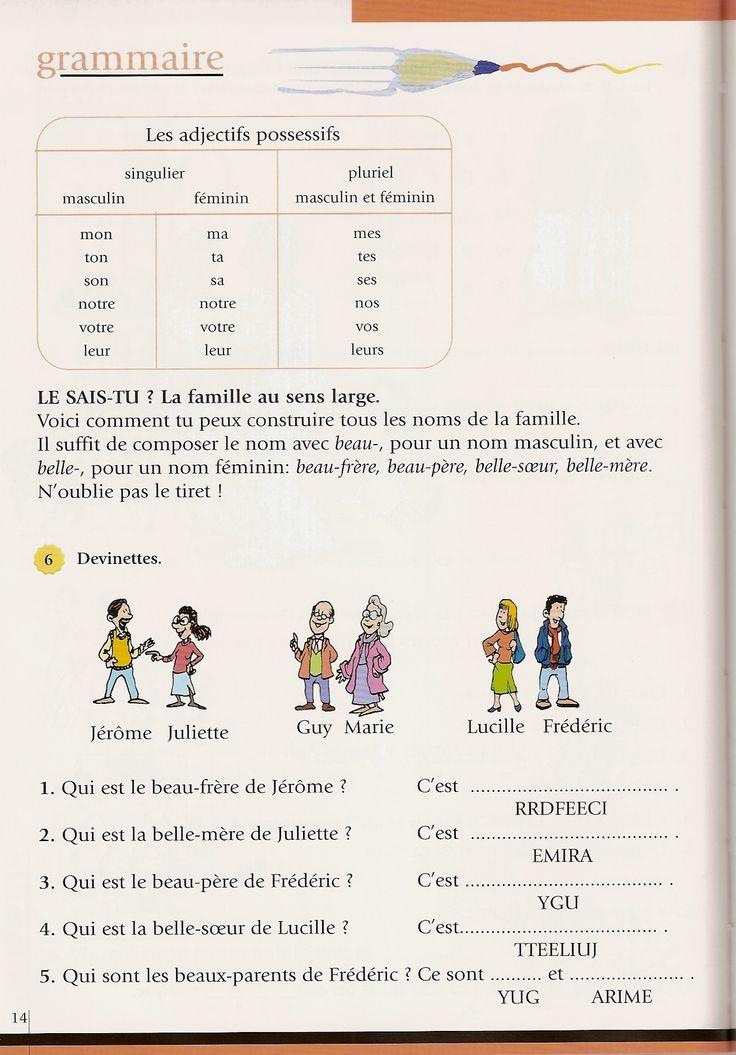 adjectifs possessifs et famille | FLE Lexique de la ...
