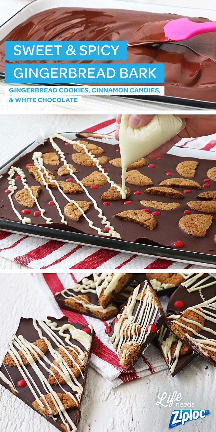 This simple, chocolate bark tastes just like a gingerbread house (without all of the work)! Just layer gingerbread cookies, spicy red candy, and melted white chocolate on top of a dark chocolate base. Break into smaller pieces and store in Ziploc® bags. Makes a great holiday gift for teachers and co-workers.