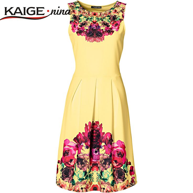 Aliexpress.com : Buy KaigeNina New Fashion Hot Sale Women  summer style print dress, women sleeveless party dresses 2157 from Reliable wear yellow dress suppliers on Discover Cheap Fashion  | Alibaba Group