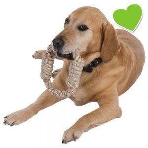Strapzierfähiges Hundespielzeug aus Seilknoten, zum Werfen & Zerren, aus Naturfaser. Das Beste daran: 10 % des Verkaufspreises werden gespendet!