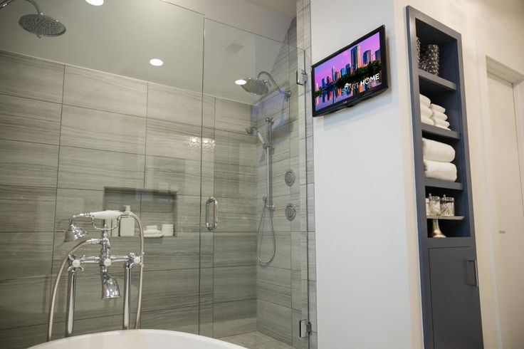 """""""There are digital controls in the master shower, as well as a remote and a television that is visible from the shower,"""" says Jack."""