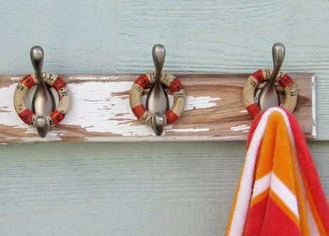 seaside decorNautical Wood, Nautical Bathrooms, Crafts Ideas, Curtains Rings, Drapery Rings, Vintage Curtains, Bathroom Ideas, Life Savers, Easy Nautical