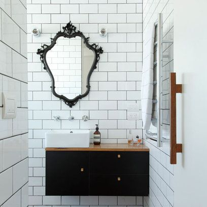 Bathroom: Modern Retro: French Mirror Contrast