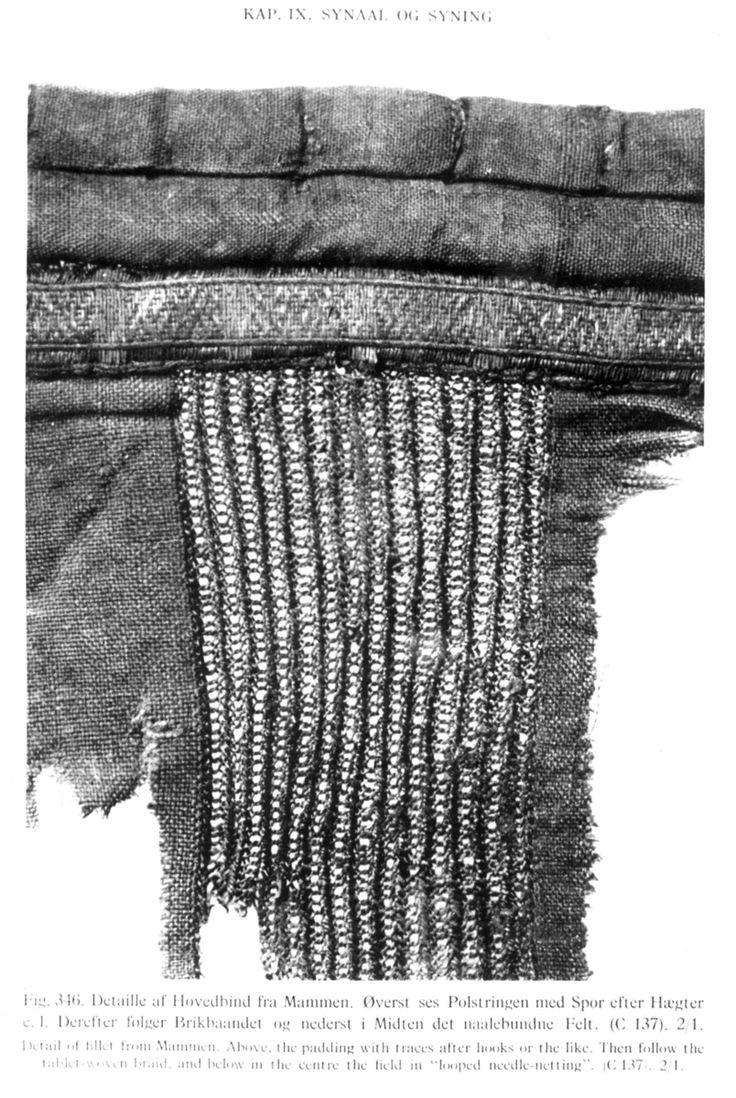 DigitaltMuseum - Detalj av nålebinding fra 900-tallet, Mammen, Danmark. Reproduksjon fra Hald: Olderdanske tekstiler, Københhavn 1950.