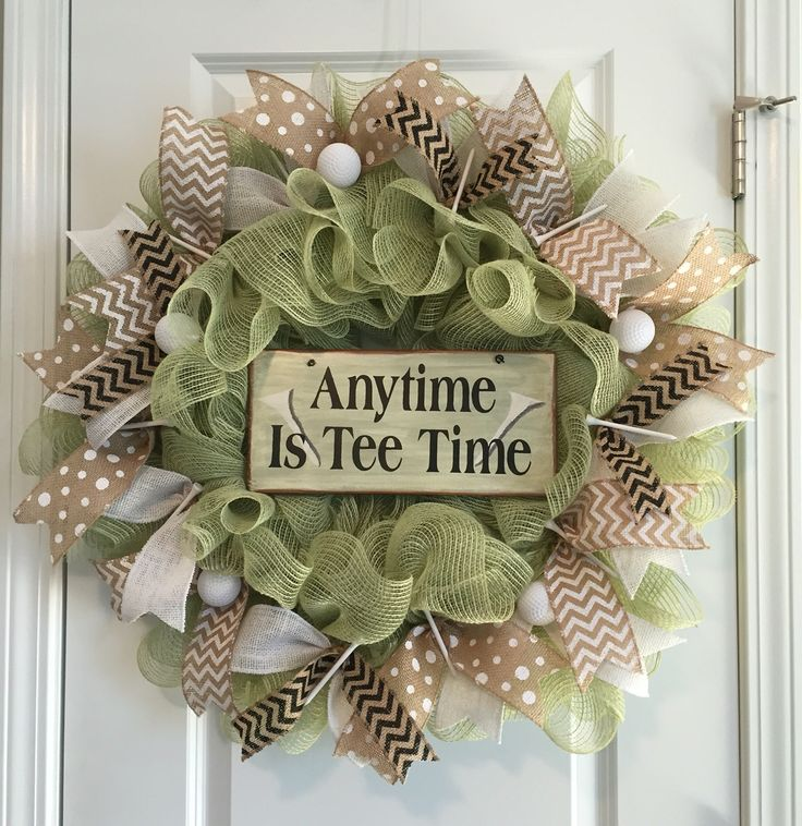 Anytime us tee time burlap mesh golf wreath