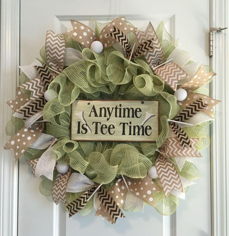 Anytime us tee time burlap mesh golf wreath
