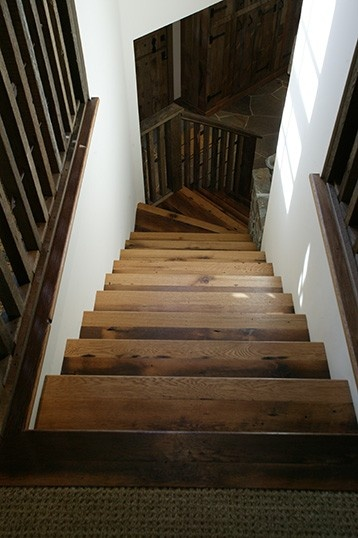 reclaimed wood stairs great clean transition to carpeting at top