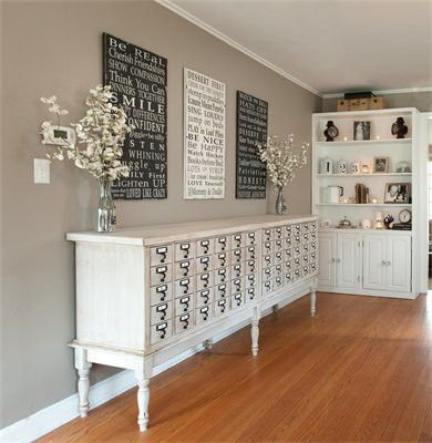 Love this white washed Library card catalog
