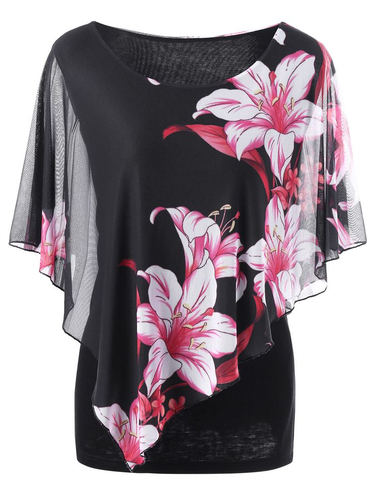 Plus Size Overlay Floral T-Shirt - Black 5xl