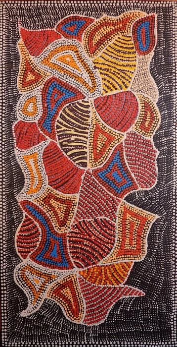 Rowena Napanangka Tasman / Ngurlu Jukurrpa (Native Seed Dreaming) 91 x 46 cm Lukarrara is a species of Fimbristylis, a grass that bears edible seeds in the winter-time. The seeds are traditionally ground on a large stone ('puturlu') with a smaller stone ('ngalikirri') to make flour. This flour is mixed with water ('ngapa') to make small seed cakes.