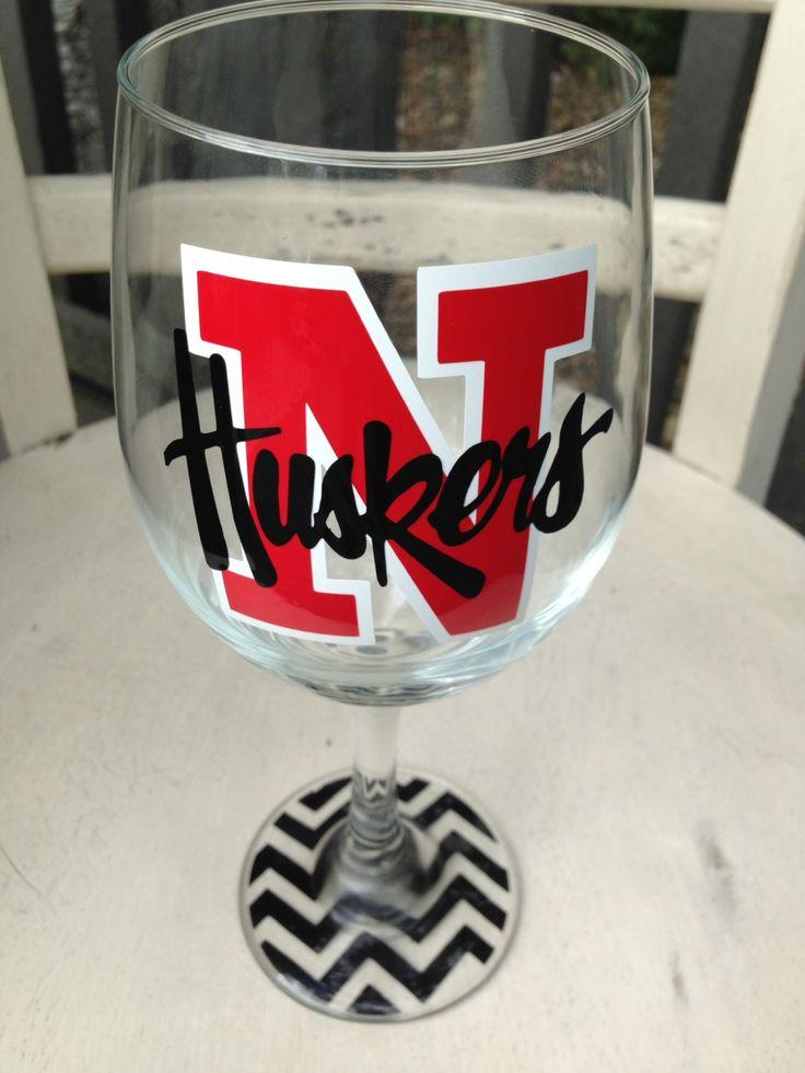 Nebraska cornhuskers inspired wine glass nebraska huskers graduation gift housewarming gift grooms gift bridal party wine glasses  by MonogramRevolution on Etsy