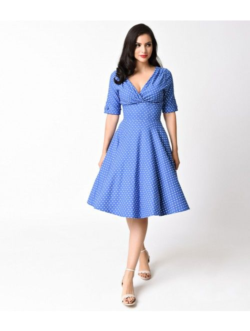 Unique Vintage 1950s Blue & White Dotted Half Sleeve Delores Swing Dress