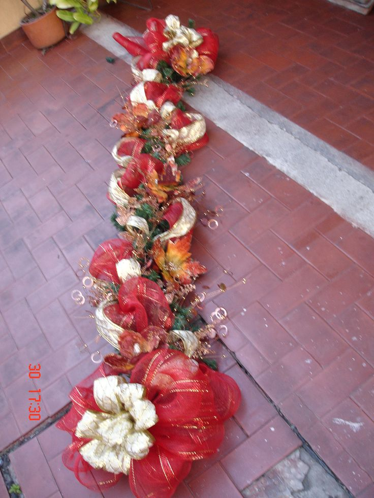 Guirnalda navide a extremo con malla http guilenart - Decoracion navidena exterior ...