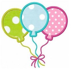 Balloons Applique - 3 Sizes! | Birthday | Machine Embroidery Designs | SWAKembroidery.com Fun Stitch
