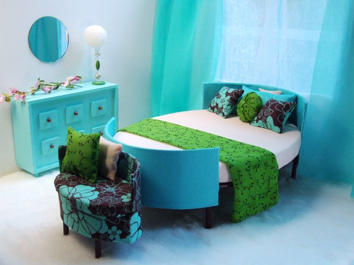 bedroom   This is my favorite site for Barbie furniture! Innovative mid-century modern ideas, great fabrics, amazing dolls and clothes. I spent an hour speeding through and will go back for sure.