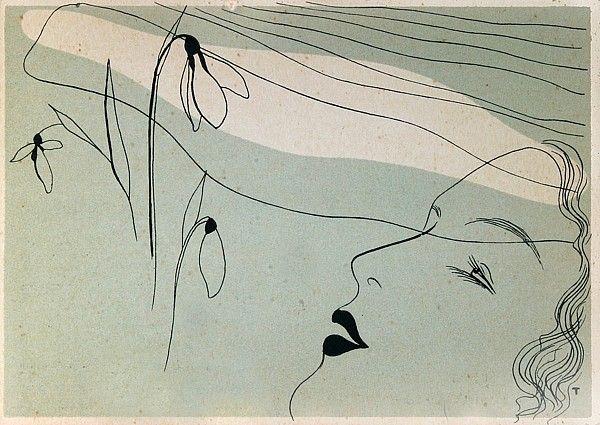 Toyen  Dívka se sněženkami  litografie, 1933