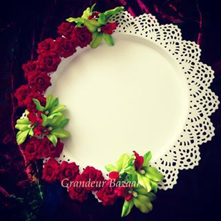 Red Velvet Roses Thaal  #hennaparty #thaali #design #homedecor #henna…