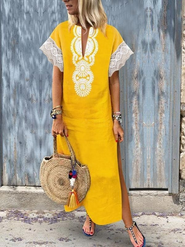3d715288ba2f Kaftan slit side beach yellow lace trim embroidered maxi embroidery cover  up holiday see vneck