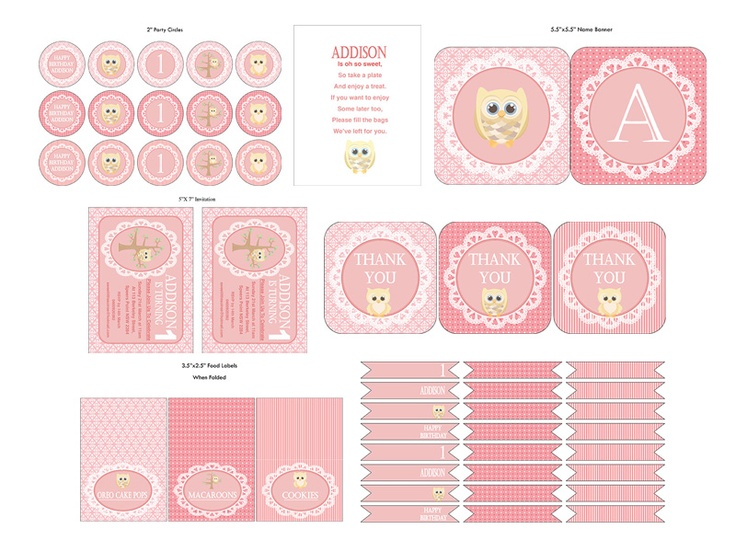 Sweet Little Soiree. Party printables. Australian Company. So Cheap. Birthday party. Girl. Pretty. Pink. Owl Theme.