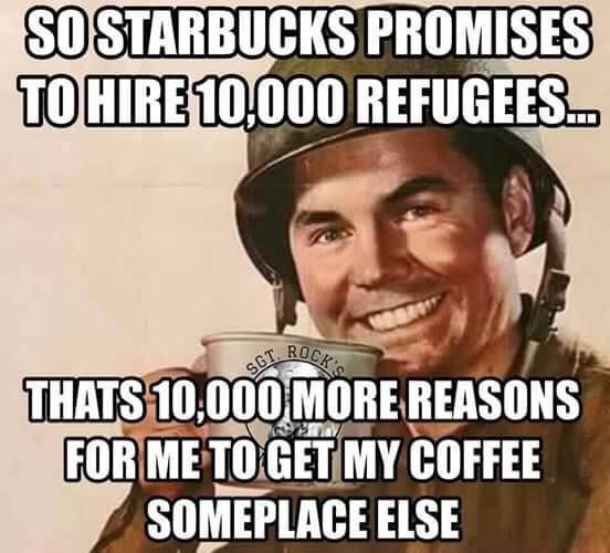 Image result for starbucks cartoons hiring immigrants