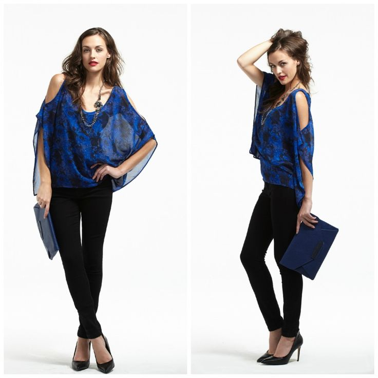 Plum Blouse with Cut-Away Shoulders and Black Skinny Yoga Jeans.