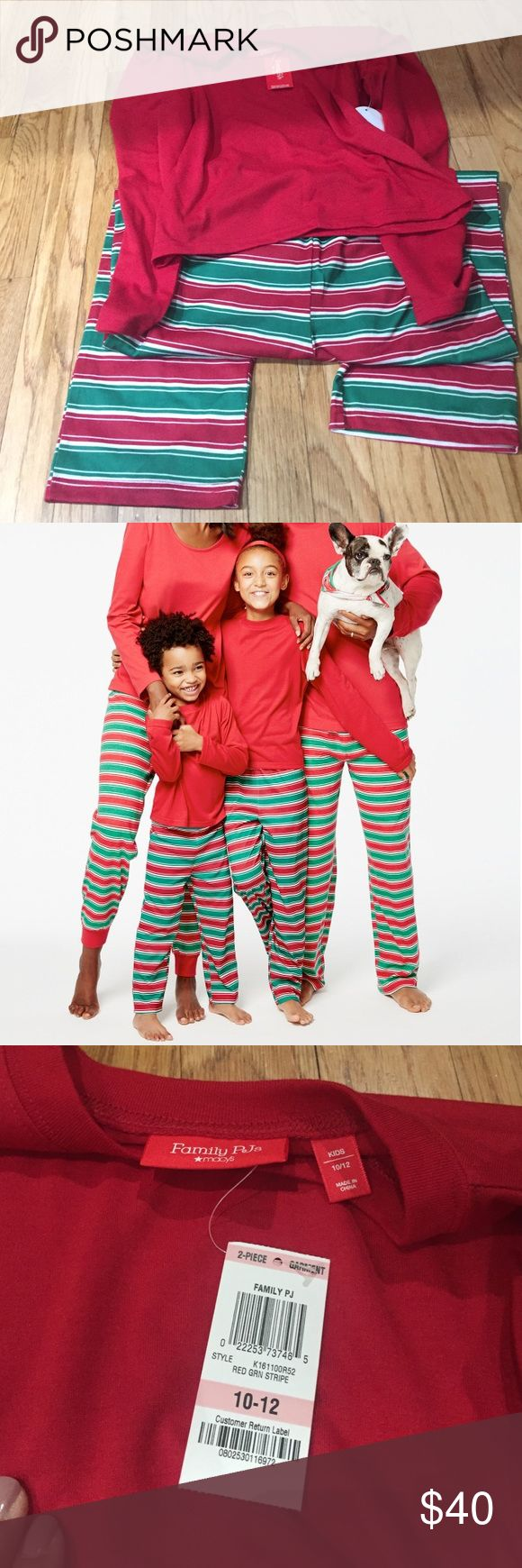 Kids red Family Pjs size 10-12 Kids red Family Pjs size 10-12. This is brand new, no damage. Cotton/ polyester, machine washable, top features a crew neckband long sleeve, full length pants feature a striped design. Macy's Pajamas Pajama Sets