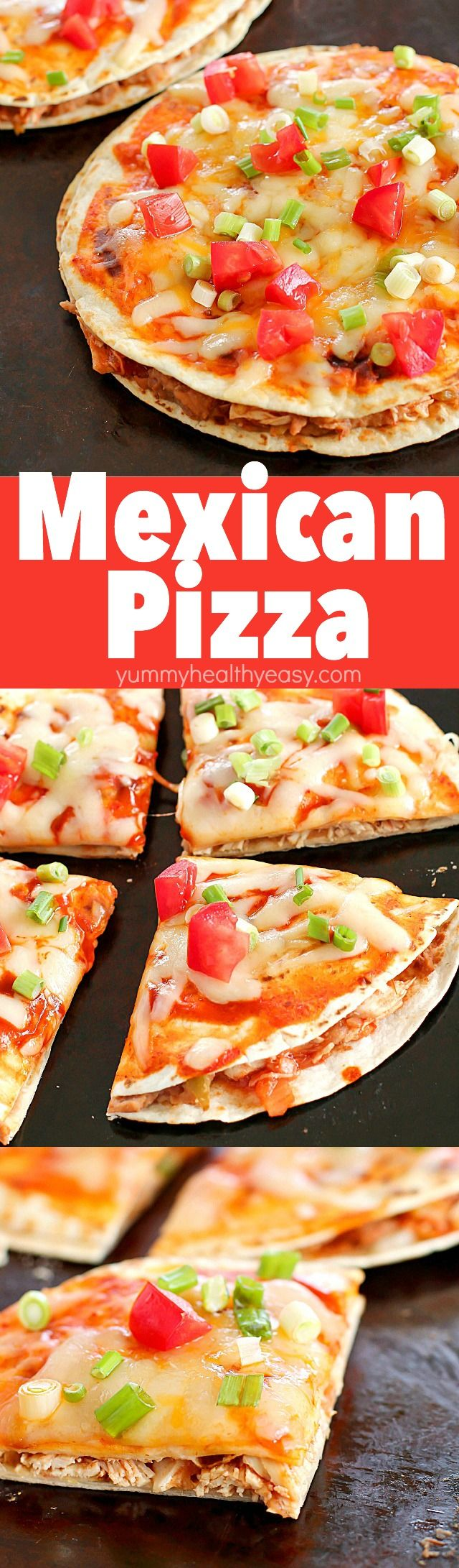 How about Mexican Pizzas for dinner? They're an easy, yummy recipe of layered flour tortillas with a filling of refried beans, shredded chicken and salsa. Top it off with a little enchilada sauce and cheese, bake for a few minutes, and you got yourself an incredible Mexican Pizza for dinner!
