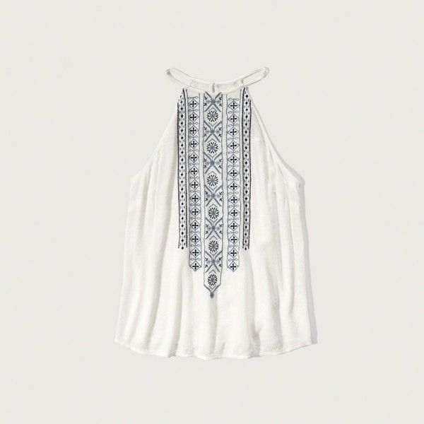 Abercrombie & Fitch Embroidered High Neck Tank (£27) ❤ liked on Polyvore featuring tops, off white, embroidered top, draped tank top, drapey tank, drape top and high neck tank top