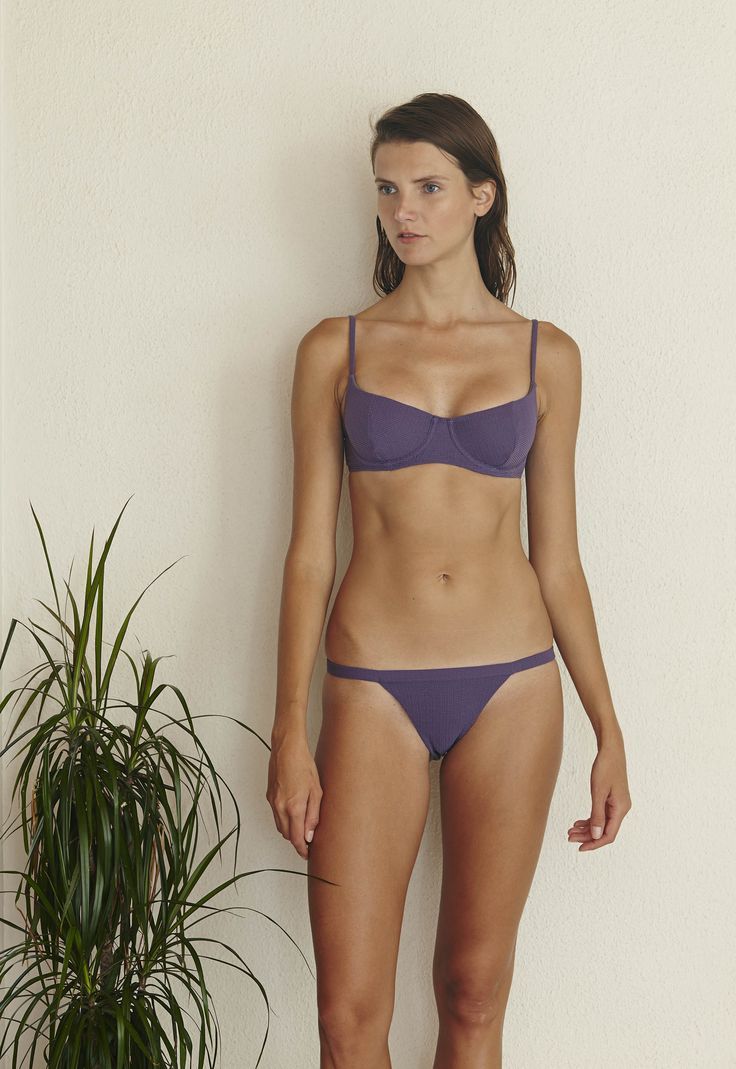 Pussycat Bikini Set in Textured Violet  http://www.bowerswimwear.com/collections/spring-2016-francois/products/pussycat-bikini-set-textured-violet