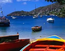 colorful boats in the Grenadines