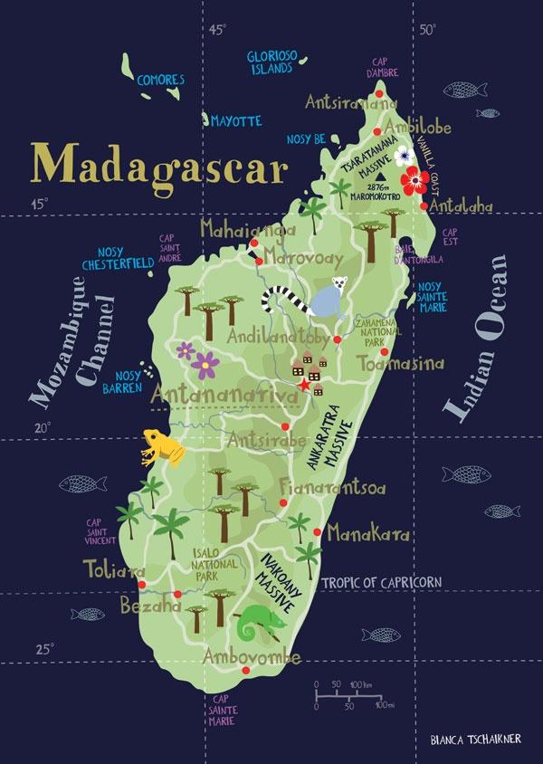 Political Map Of Senegal%0A Illustrated Map of Madagascar Limited Edition Print   x Fine Art  Illustration Digital Print Africa Island Map