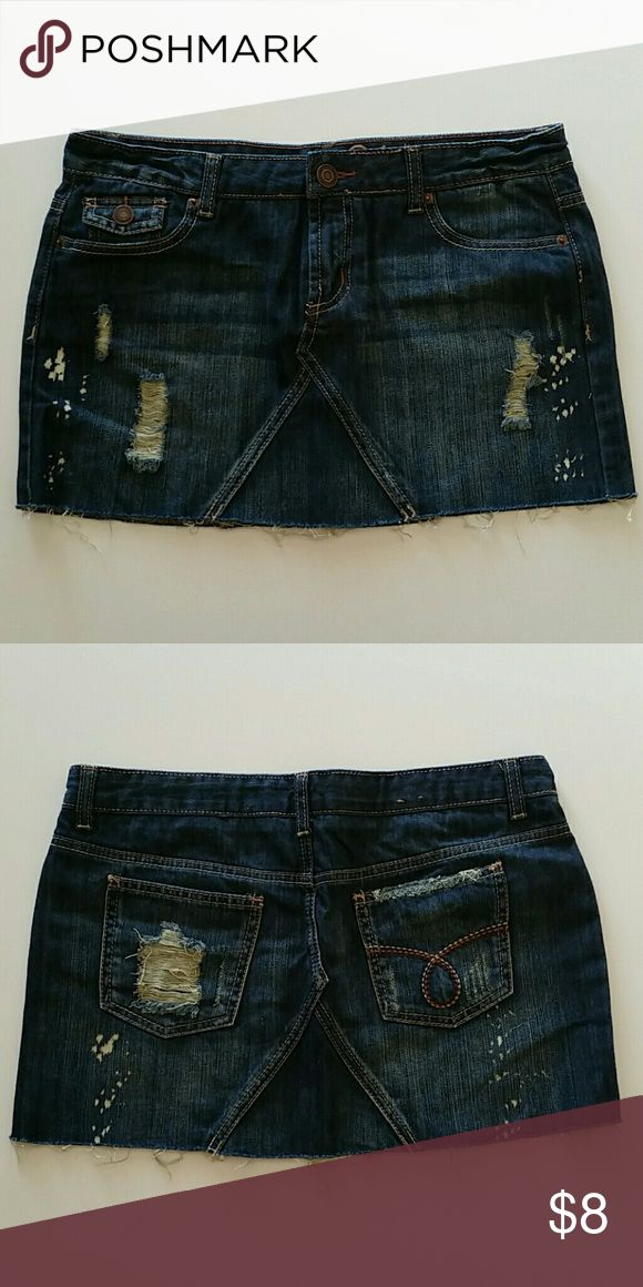Rue 21 Jean Skirt Great distressed jean skirt from Rue 21. Size 7/8. Rue 21 Skirts