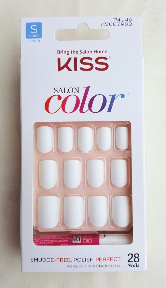 de284b80918 KISS SALON COLOR Press-On Nails WHITE MATT FINISH Short Square #74148 #Kiss