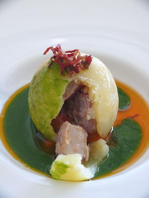 La patata del cocido. Pepe Vieira.probable que sea un Knoedel de patata relleno?...