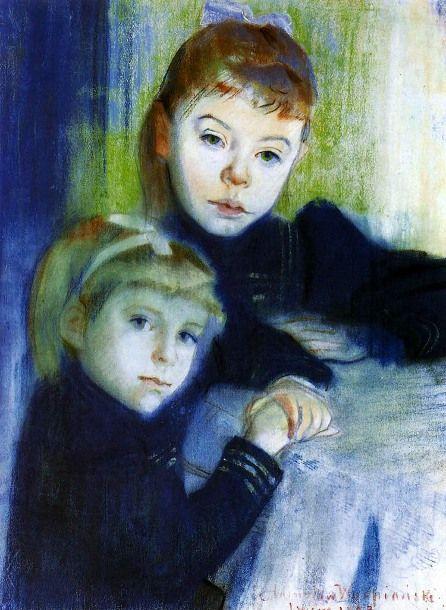 Portrait Of The Misses Kijenski - Stanislaw Wyspianski (1869 – 1907, Polish)