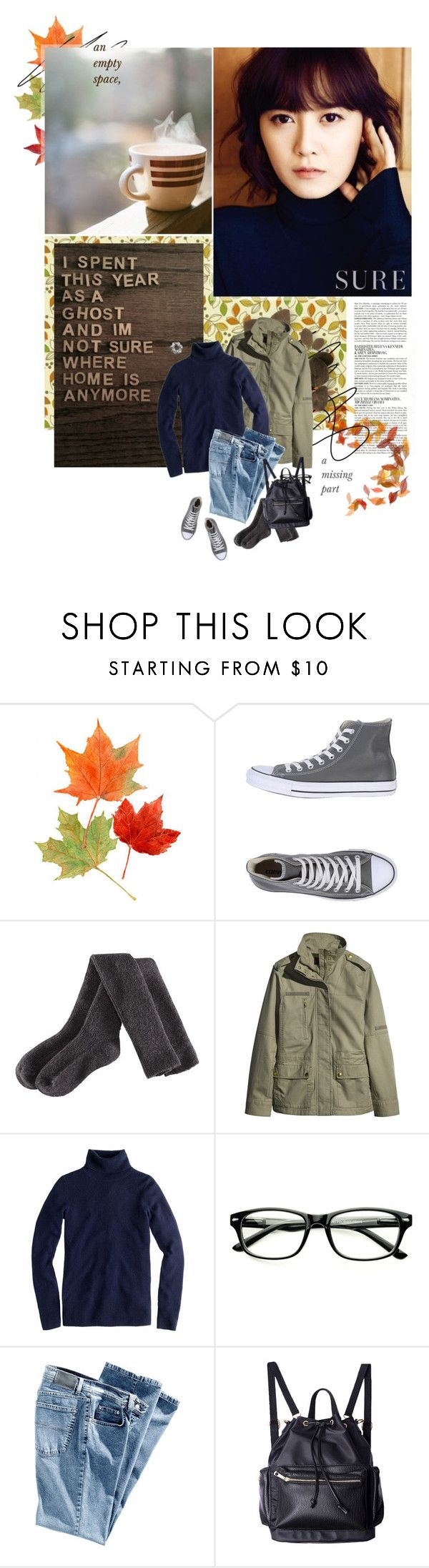 """lacuna"" by aurora-zg ❤ liked on Polyvore featuring McGinn, Koo, Converse, H&M and J.Crew"