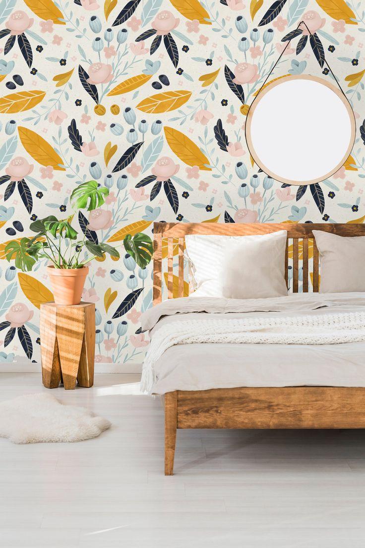 Removable Wallpaper Self Adhesive Wallpaper Pastel Flowers