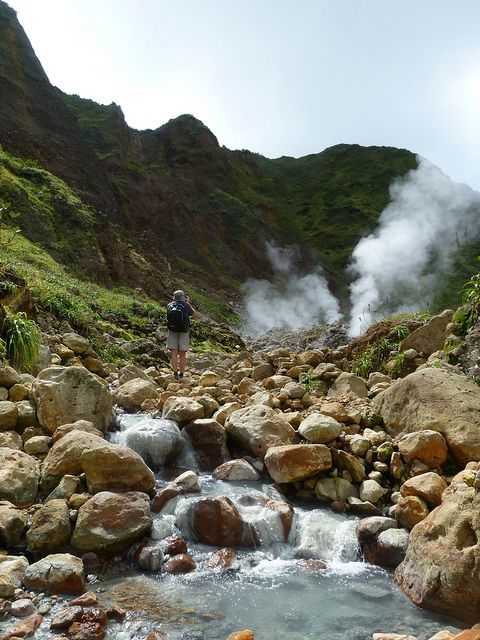 Hot water stream in the Valley of Desolation, Dominica