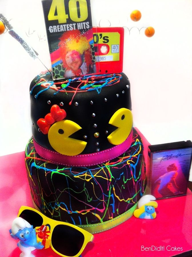17 best images about neon party on pinterest glow 80s for 80s cake decoration ideas