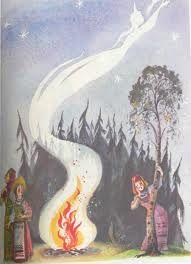 Картинка как снегурочка прыгает через костер торт