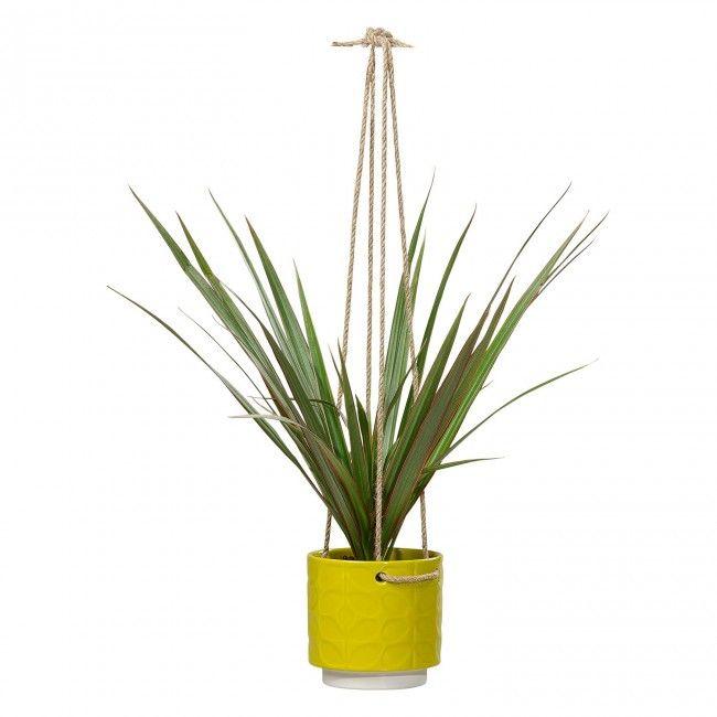 Orla Kiely Small Ceramic Hanging Plant Pot, Dandelion Yellow