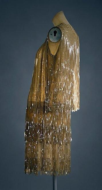 1926-1927 silk dress by Edward Molyneux, French.