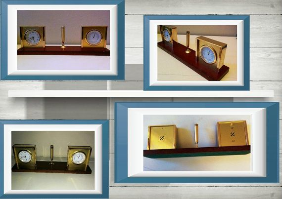 Bulova Desk Set Alarm Clock Thermometer C and F Pen Set Wood
