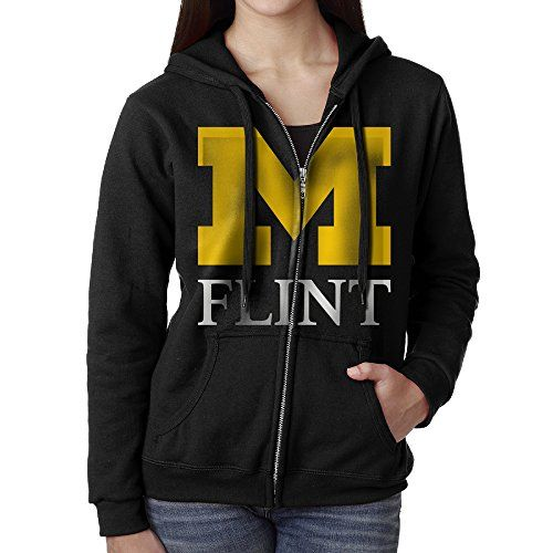 KOBT Womens University Of Michigan Flint Full Zip Hoodie Jackets Black Size XL ** Be sure to check out this awesome product.