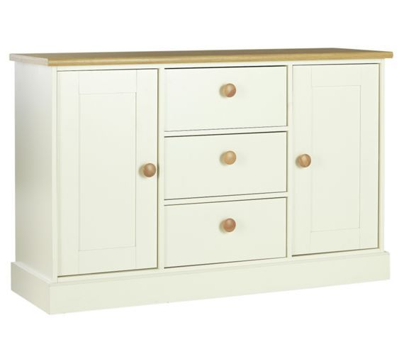 Size H77 W120 D40cm Buy Collection Winchester 2Dr 3Drw Sideboard White Solid OakWinchesterChest Of DrawersLiving Room FurnitureHome