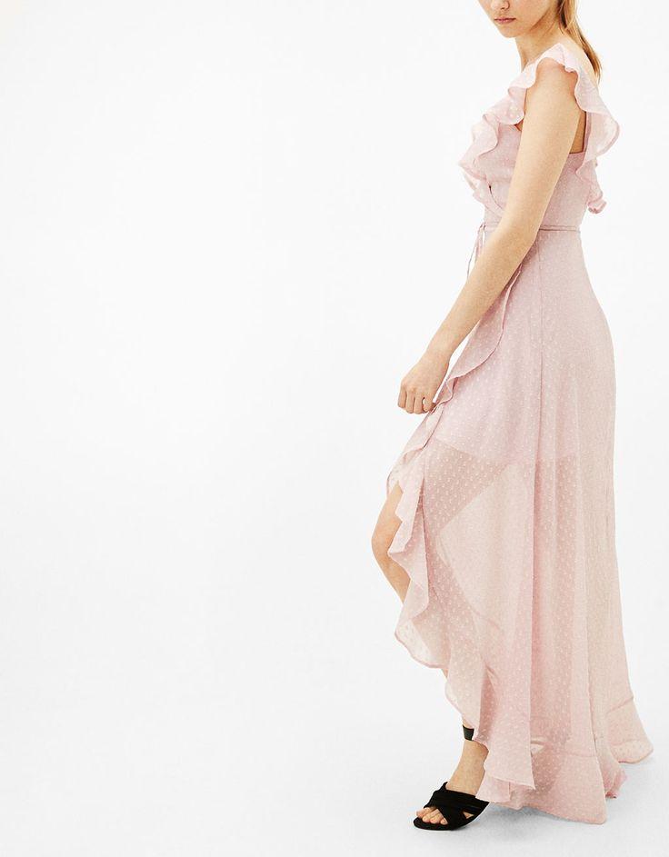 Φόρεμα plumeti κρουαζέ με βολάν - Φορέματα - Bershka Greece