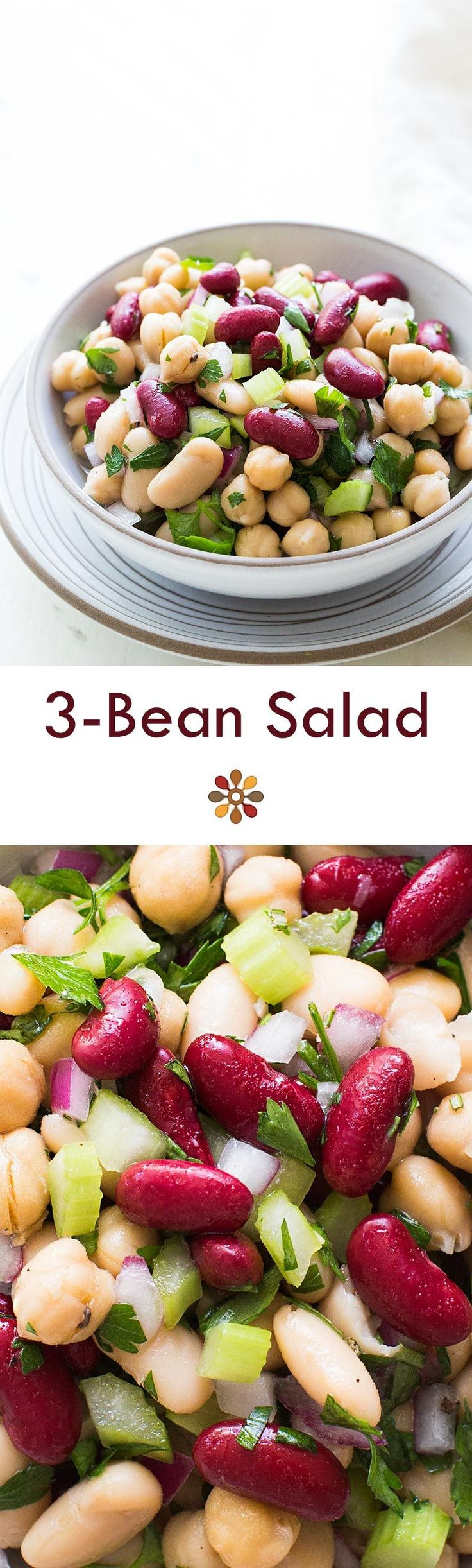 Classic American 3-bean salad, perfect for summer picnics and potlucks! With cannellini beans, kidney beans, garbanzo beans, celery, red onion, parsley, and a sweet and sour dressing. On SimplyRecipes.com #vegan #glutenfree